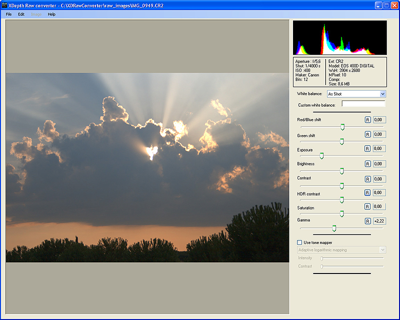 XDepth Raw Converter screenshot: raw,photo,image processing,conversion,compression,jpeg,tiff,png,48bit,raw photo,xdepth,xdepth raw,xdepth 48,image compression,raw development,hdr,high dynamic range,tmo